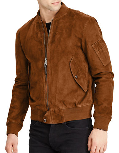 Polo Ralph Lauren Suede Leather Bomber Jacket-BROWN-Small