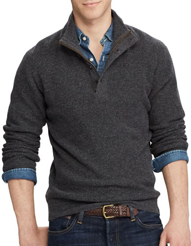 Polo Ralph Lauren Waffle-Knit Wool Sweater-GREY-Medium