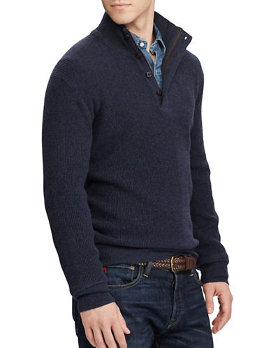 Polo Ralph Lauren Waffle-Knit Wool Sweater-BLUE-Large