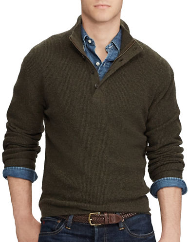 Polo Ralph Lauren Waffle-Knit Wool Sweater-BROWN-Large