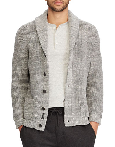 Polo Ralph Lauren Cotton Shawl Collar Cardigan-GREY-Large