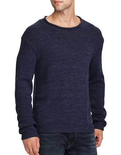 Polo Ralph Lauren Cotton Rolled Neck Sweater-NAVY-Large