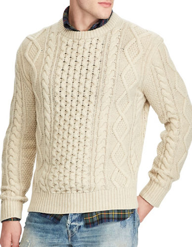 Polo Ralph Lauren The Iconic Fisherman's Sweater-CREAM-Large