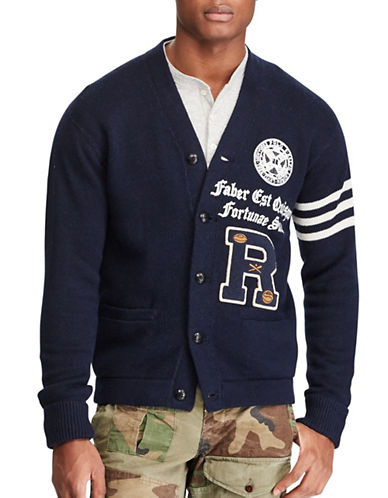 Polo Ralph Lauren Iconic Collegiate Cardigan-NAVY/GREEN-Medium