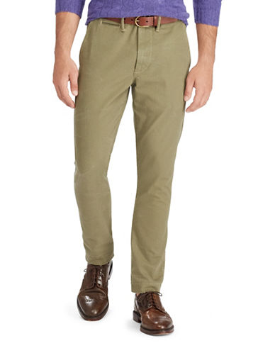 Polo Ralph Lauren Straight-Fit Cotton Chino Pants with Corozo Buttons-GREEN-32X30