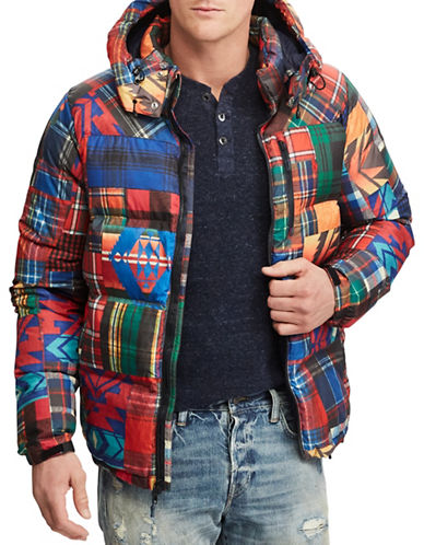 Polo Ralph Lauren Patchwork Ripstop Down-Filled Jacket-RED-Large
