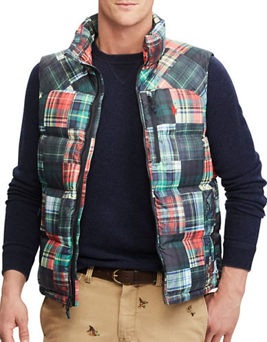 Polo Ralph Lauren Patchwork Water-Repellent Down-Filled Vest-MULTI-Large
