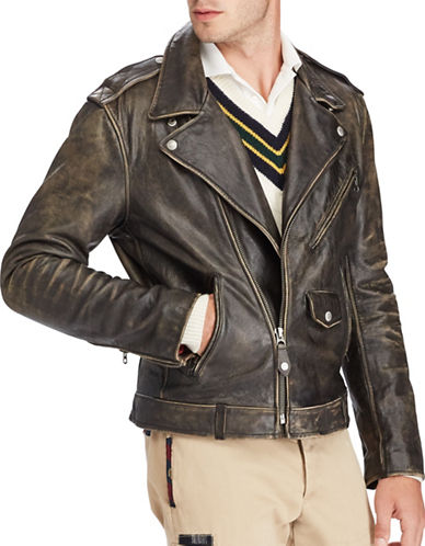 Polo Ralph Lauren Iconic Leather Motorcycle Jacket-BLACK COAL-Medium