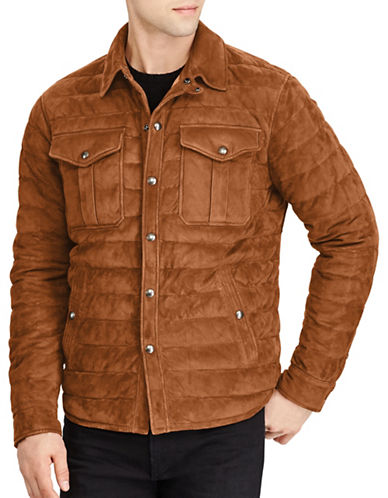 Polo Ralph Lauren Suede Down Shirt Jacket-BROWN-X-Large