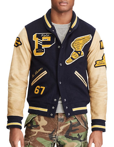 Polo Ralph Lauren The Iconic Letterman Jacket-BLUE-X-Large