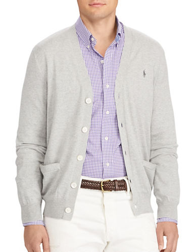 Polo Ralph Lauren Cotton V-Neck Cardigan-GREY-Large 89455467_GREY_Large