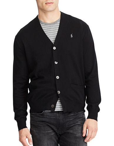 Polo Ralph Lauren Cotton V-Neck Cardigan-POLO BLACK-Large