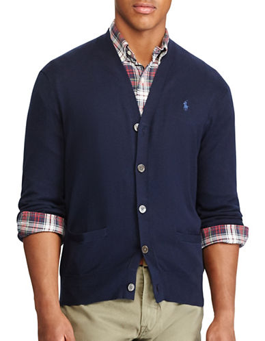 Polo Ralph Lauren Cotton V-Neck Cardigan-NAVY-Large