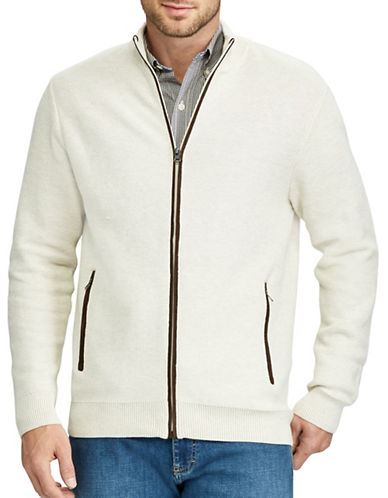 Chaps Full-Zip Sweater-NATURAL-X-Large