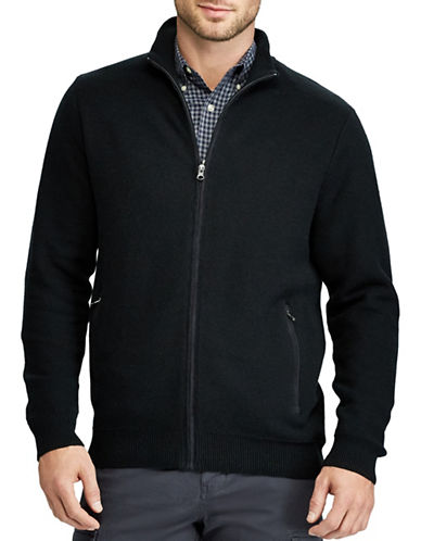 Chaps Full-Zip Sweater-BLACK-Large