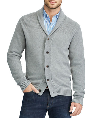 Chaps Cotton Shawl Cardigan-GREY-Medium