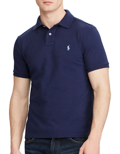 Polo Ralph Lauren Custom Slim Fit Mesh Polo-NEWPORT NAVY-Medium