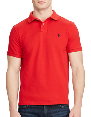 Polo Ralph Lauren Custom Slim Fit Mesh Polo-RED-Large