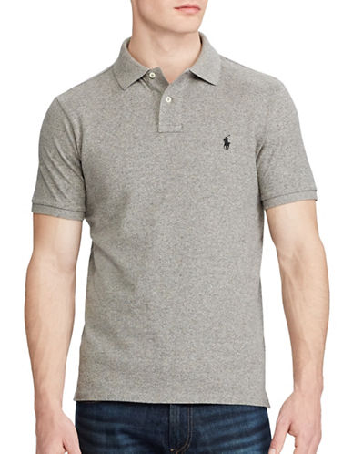 Polo Ralph Lauren Custom Slim Fit Mesh Polo-GREY-Large