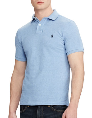 Polo Ralph Lauren Custom Slim Fit Mesh Polo-LIGHT BLUE-Medium