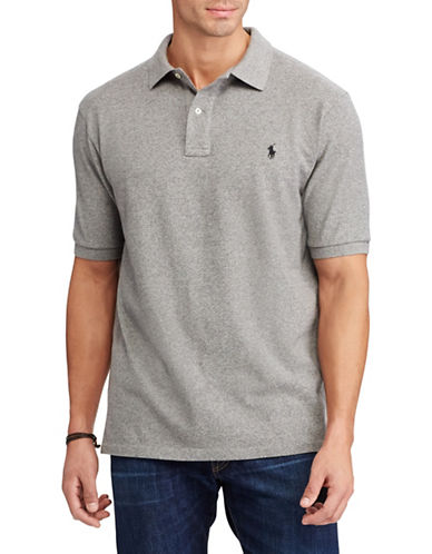 Polo Ralph Lauren Big and Tall Classic-Fit Mesh Cotton Polo-GREY-1X Tall
