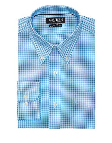 Lauren Ralph Lauren Slim-Fit Plaid Stretch Cotton Dress Shirt-BLUE-17-32/33