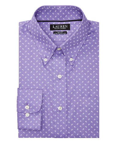 Lauren Green Slim Fit Paisley-Print Cotton Dress Shirt-PURPLE-18-34/35