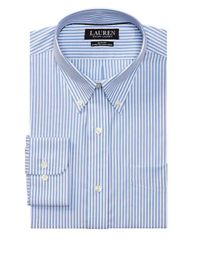 Lauren Green Slim Fit Striped Stretch Cotton Dress Shirt-BLUE-16-32/33