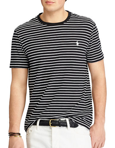 Polo Ralph Lauren Slim-Fit Striped Cotton Tee-BLACK-Medium 89246076_BLACK_Medium