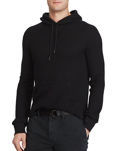 Polo Ralph Lauren Waffle-Knit Cotton Hoodie-POLO BLACK-XX-Large