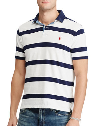 Polo Ralph Lauren Custom Slim-Fit Striped Cotton Polo-WHITE-XX-Large