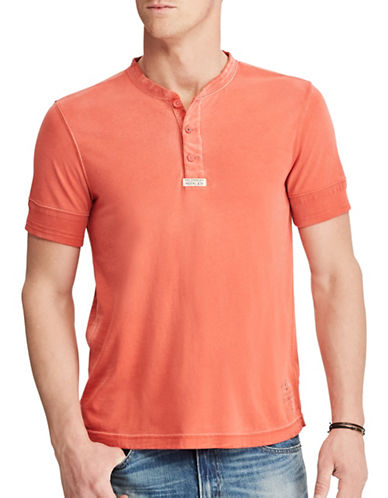 Polo Ralph Lauren Cotton Jersey Henley Shirt-RED-Large