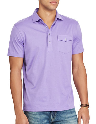 Polo Ralph Lauren Classic-Fit Cotton Lisle Shirt-PURPLE-Small