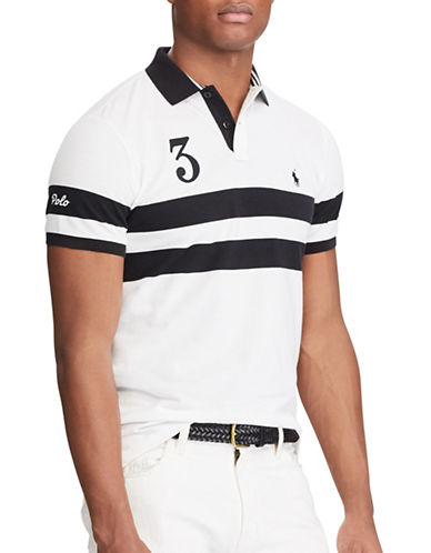 Polo Ralph Lauren Custom Slim Featherweight Polo-WHITE/POLO BLACK-X-Large