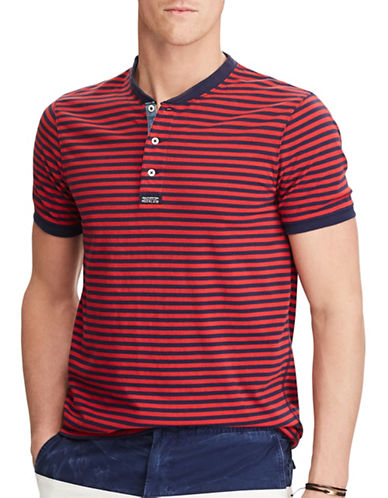 Polo Ralph Lauren Striped Cotton Henley Shirt-RED/BLUE-X-Large