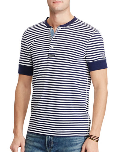 Polo Ralph Lauren Striped Cotton Henley Shirt-WHITE/BLUE-Medium