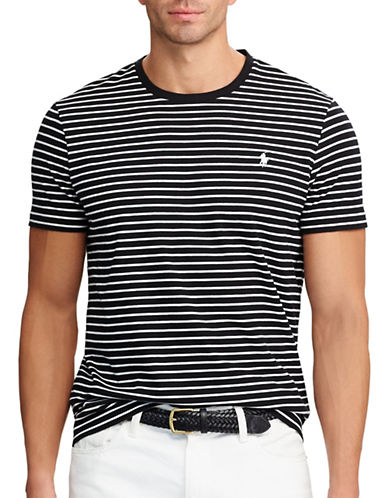 Polo Ralph Lauren Big and Tall Striped Cotton Jersey Tee-BLACK-4X Tall