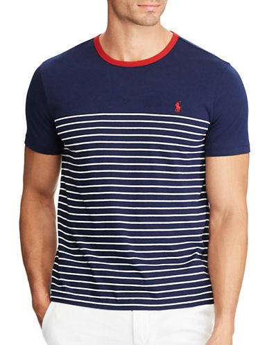 Polo Ralph Lauren Striped Cotton Jersey Tee-BLUE-5X Big