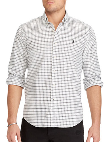 Polo Ralph Lauren Standard Fit Cotton Shirt-WHITE/BLACK-X-Large 89286973_WHITE/BLACK_X-Large