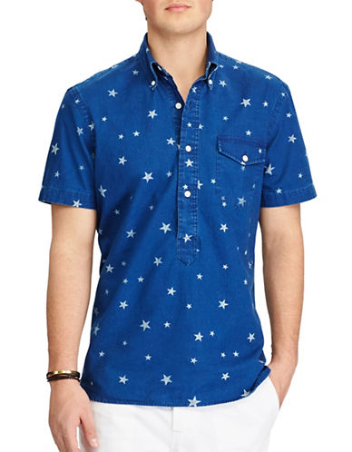 Polo Ralph Lauren Standard-Fit Printed Popover Shirt-BLUE-X-Large
