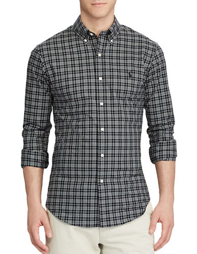 Polo Ralph Lauren Plaid Cotton Sport Shirt-BLACK-X-Large 89287088_BLACK_X-Large
