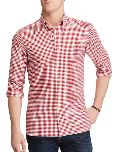 Polo Ralph Lauren Slim-Fit Gingham Cotton Shirt-RED-Large 89246349_RED_Large