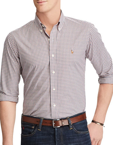 Polo Ralph Lauren Slim-Fit Checked Cotton Shirt-RED-Large 89246359_RED_Large