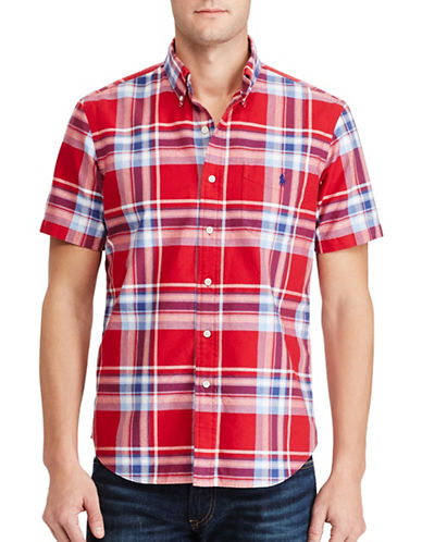 Polo Ralph Lauren Standard Fit Plaid Cotton Shirt-DUSTY RED-Large