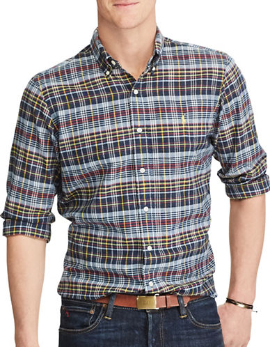 Polo Ralph Lauren Big and Tall Classic-Fit Madras Shirt-BLUE-5X Big