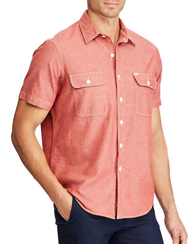 Polo Ralph Lauren Cotton Button-Down Work Shirt-RED-4X Big