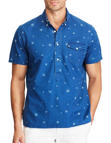 Polo Ralph Lauren Star-Print Cotton Popover Shirt-BLUE-Large Tall