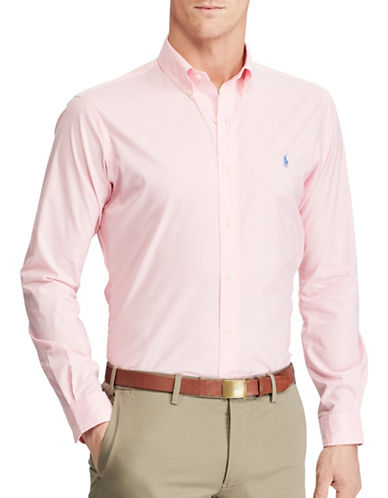 Polo Ralph Lauren Slim Fit Checked Sport Shirt-CARMEL PINK-X-Large
