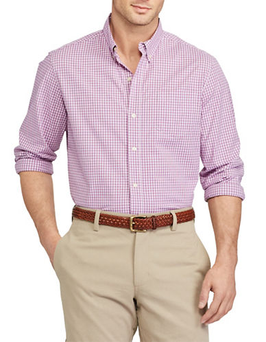 Chaps Checkered Stretch Cotton Poplin Shirt-PURPLE-Large