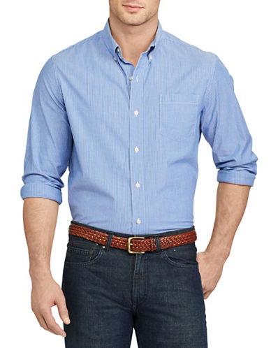 Chaps Striped Stretch Cotton Shirt-BLUE-Large